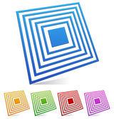 3d Square emblem vector set