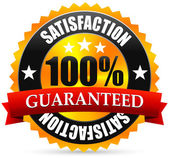 Satisfaction guarantee seal stamp or badge with red ribbon banner