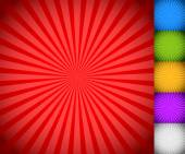 Sunburst starburst background set colorful rays beams Blue green yellow purple and white versions