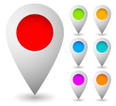 Map marker map pin vector Map markers with circles with blank space 7 colors Vector graphics