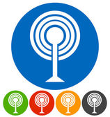 Antenna Broadcasting tower broad cast icons set vector illustration