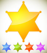 Classic western sheriff badge sheriff star set Vector illustration