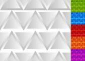 Seamless patterns with triangles in grayscale and 5 colors