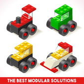The Best Modular Solutions Isometric Basic Cars Collection Plastic Toy Blocks and Tiles Set HD Quality Colorful and Bright Vector Illustration for Webapps Web Advertising Template Logo or Banner