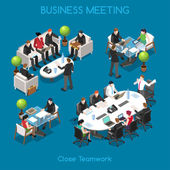 Startup Teamwork Brainstorming Business Office Meeting Room Interacting People Unique Isometric Realistic Poses NEW bright palette 3D Flat Vector Icon Set Team around table working with laptop