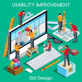 GUI design for Usability and User Experience Improvement Interacting People Unique Isometric Realistic Poses NEW bright palette 3D Flat Vector Concept Team Creating Great Web Graphic User Interfac