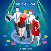 Corporate Party Team Selfie Informal Event Interacting People Unique Isometric Realistic Poses NEW bright palette 3D Flat Vector Set Let s celebrate Cheers to Us