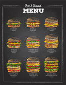 Set of Vintage chalk drawing Sandwich sketch. fast food menu.