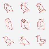 Bird icons thin line style flat design