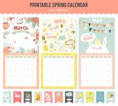 Cute Calendar Template for 2016 Beautiful Diary with Vector Character and Funny Illustrations Animals and Kids Trendy Season Holidays Backgrounds Good Organizer and Schedule with place for Notes