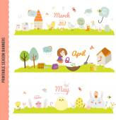 Set of Three Monthly Seasonally Banners in a Cute and Character Style for Posters Flyers Web or other Graphic Designs Summer Autumn Winter Spring Season Nature Outdoor Backgrounds