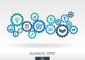 Business mechanism concept Abstract background with connected gears and icons for strategy service analytics research seo digital marketing communicate concepts Vector infographic illustration