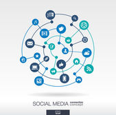 Social media connection concept Abstract background with integrated circles and icons for digital internet network connect communicate technology global concepts Vector infographic illustration