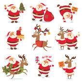 Mikulášské a vánoční soby. Vtipné kreslené postavičky