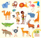 Set funny african animals Cartoon character Isolated on white background Elephant monkey lion flamingo toucan rhino camel giraffe crocodile parrot cheetah wildebeest ostrich oryx