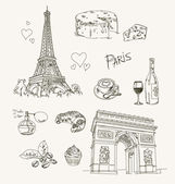 Freehand drawing Paris items on a sheet of exercise book Eiffel Tower Arc de Triomphe Vector illustration Isolated on white background