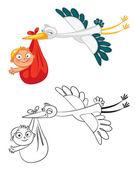 Egy aranyos baba végző gólya