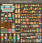 Immagine costituita da una serie di prodotti, persone e la costruzione di un supermercato