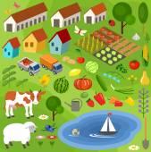 Velká sada prvků venkovské zemědělce