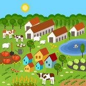Velká sada prvků venkovské zemědělce. Pole, zvířata, rostliny