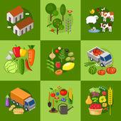 Velká sada prvků farmář. Pole, zvířata, rostliny. Vektorové ilustrace