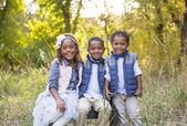 Roztomilý venkovní portrét tří rasově rozmanité dětí