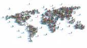 Velká skupina lidí, kteří stáli v podobě mapa světa