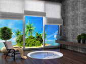 Bathroom with a view of the tropical island. 3d illustration