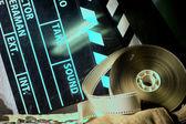 Battenti cinema e film video negative film su un panno ruvido