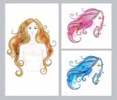 Set of cards with Beautiful female faces with long hair