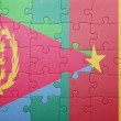Постер, плакат: Puzzle with the national flag of eritrea and cameroon