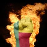 Постер, плакат: Fire fist with the national flag of benin