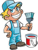 Cute house painter with a paintbrush Isolated