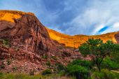 Canyon Wall Lid by sunset light Beautiful Coyote Gulch landscape