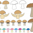 Постер, плакат: Clipart with mushrooms