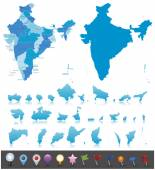 India-highly detailed map Vector illustration
