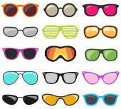 Colorful glasses set Vector illustration