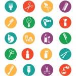 Постер, плакат: Colored Hairdressing Equipment Icons
