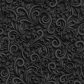 Vektorové černé květinový vzor bezešvé se stínem pro pozvánky a výzdoba