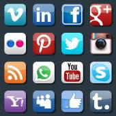 Vector social media icons Pinterest and Instagram Flickr and Whatsapp Skype and LinkedIn