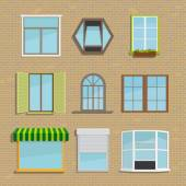 Set of icons of different types of windows Construction frame house and architecture vector illustration blinds and shutters awning and tide