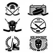 Ice hockey emblem and logo set Sport and game team emblem vector illustration