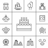 Birthday and celebration icons set Cake and ferris wheel toy and tent photography and entertainment birthday and clown slide and attraction Vector illustration