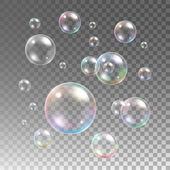 Transparent multicolored soap bubbles vector set on plaid background Sphere ball design water and foam aqua wash illustration