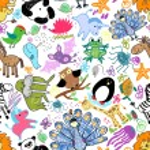 Постер, плакат: Childrens drawings seamless pattern with animals
