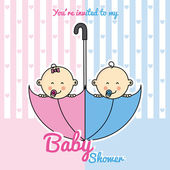 Dvojče děti uvnitř deštník