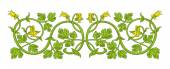 Pattern of interwoven stems foliage and flowers Vector frame elegant vignette design element and page decoration
