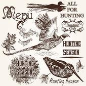 Kolekce vektoru ručně tažené zvířaty lovecké sezóny designu