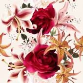 Seamless floral pattern with roses in watercolor style vector illustration