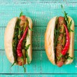 Постер, плакат: Two hot dogs